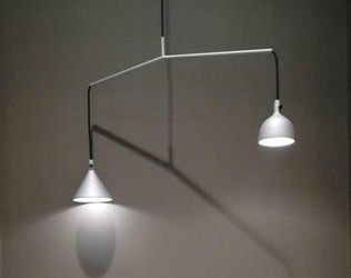 Menu Industrial Lamp 48 available Grey Aluminum Linear Suspension Cast Pendant MCM Lighting for Sale in Hemet,  CA