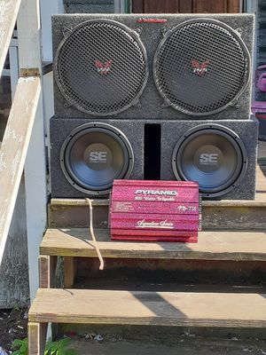 "2-12"" memphis street edge in the box brand new ($300), 1-box for 2-15's ($100), 1-900 watt amp ($100) $400 for everything for Sale in Erie, PA"