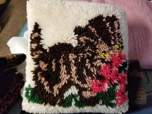 Hand hooked cat pillow for Sale in San Luis Obispo, CA
