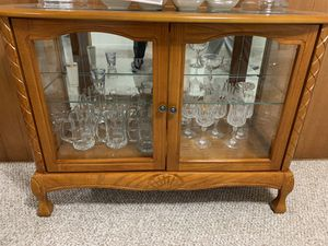 Glass / Wood China Cabinet + Matching Mirror for Sale in North Springfield, VA