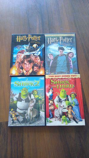 Family DVDs Harry Potter 1 & 2; Shrek 2 & 3 for Sale in Miami, FL