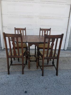 Antique C.1920 table & chairs dining set, Walnut finish for Sale in San Diego, CA