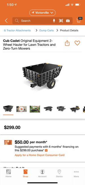 Cub Cadet Original Equipment 2-Wheel Hauler for Lawn Tractors and Zero-Turn Mowers for Sale in Hesperia, CA