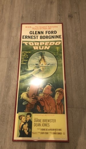 Vintage Antique torpedo run original poster in red aluminum frame and glass good conditions nice unique vintage piece measures about 18 inches wide a for Sale in Weston, FL