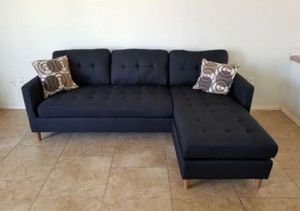 Brand New Black Linen Sectional Sofa Couch + 2 Accent Pillows for Sale in Arlington, VA