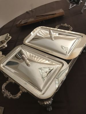 Silver Plated Double Pyrex Serving Dish for Sale in Henderson, NV