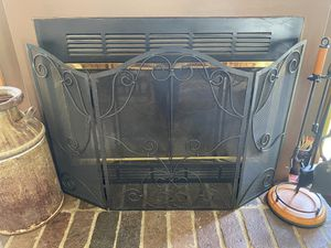 Metal black heavy fireplace screen for Sale in Naperville, IL
