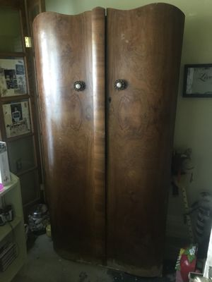 Large polished wooden 2-door closet for Sale in Merced, CA