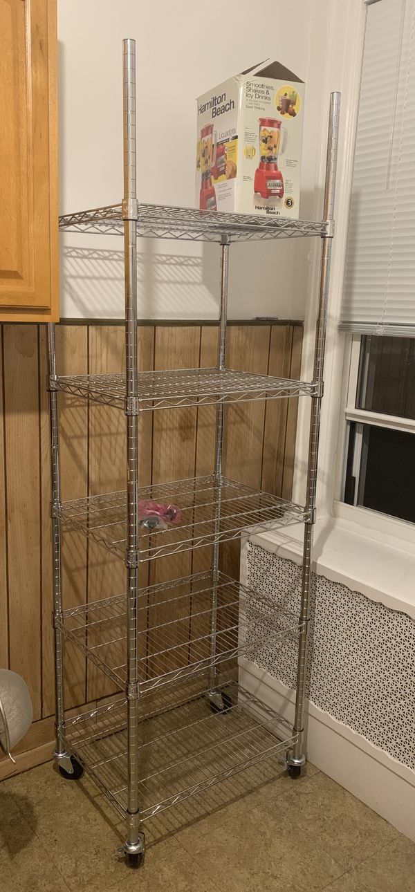 "5-tier steel wire shelving unit kitchen pantry shelves 23.5"" W x 18"" D x 74"" H"