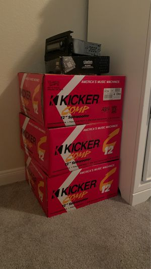 """Kicker Comp 12"""" Subwoofer (3) and Clarion Power System MCD360 for Sale in Pflugerville, TX"""