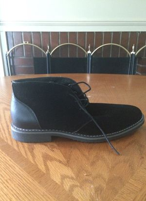 Means black suede and leather ankle boot size 11 . Only worn once by my son to a funeral. His foot is still growing at 16 now in a size 12. for Sale in Detroit, MI
