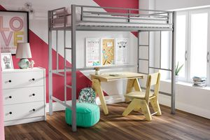 YourZone silver Metal Loft Bed, Twin Size with black desk (not pictured) for Sale in Coraopolis, PA