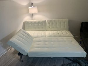 DHP Emily futon and chaise set, white faux leather for Sale in Atlanta, GA