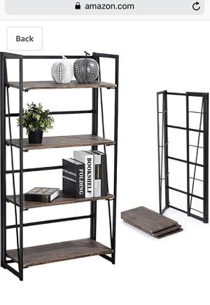 Coavas Folding Bookshelf Home Office Industrial Bookcase No Assembly Storage Shelves Vintage 4 Tiers Flower Stand Rustic Metal Book Rack Organizer for Sale in Phoenix, AZ