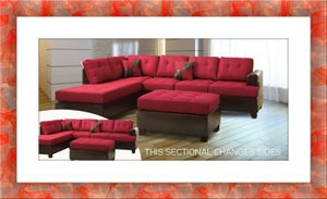 Red sectional free ottoman and delivery for Sale in Ashburn, VA