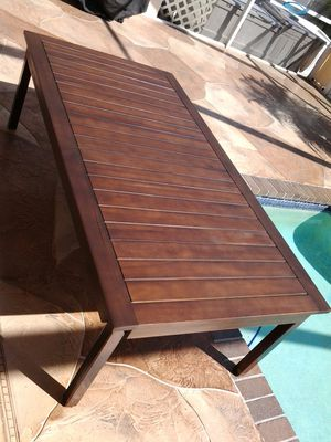 Target item # 009-17-5138 wood table pool deck patio or porch outdoor furniture 6ft x 3ft x 18in tall coffee table for Sale in Pompano Beach, FL