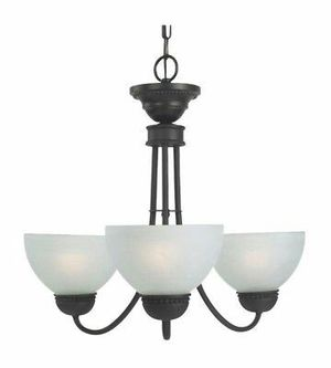 3 light oil rubbed bronze chandelier/Alabaster Style Glass for Sale in Richmond, VA