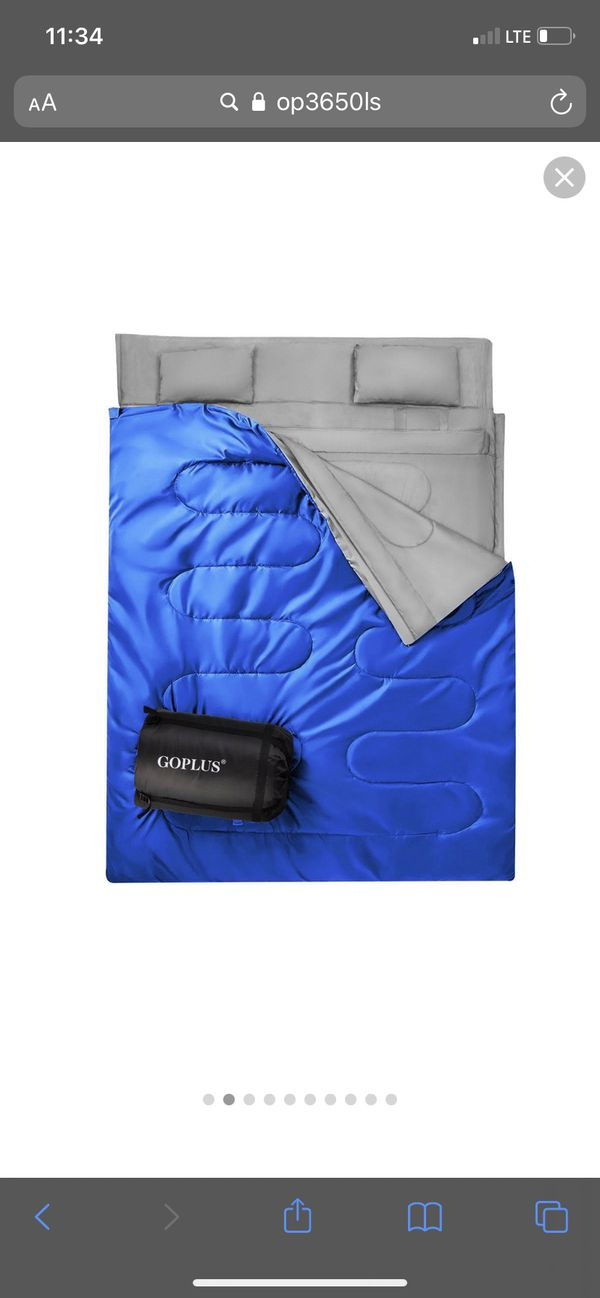 Goplus Double 2 Person Sleeping Bag Waterproof w/ 2 Pillows Camping Blue