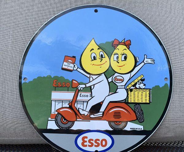 Esso boy girl drop Vintage Porcelain Sign Gas Pump Man Cave Station
