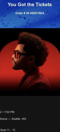 The Weeknd - 3/4/22 Tickets - Climate Pledge Arena for Sale in Seattle,  WA