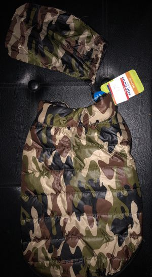 Camouflage two-in-one Dog Jacket/Sweater with Bonus Matching Camo Storage Bag for Sale in Prairieville, LA