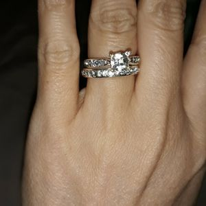 Set 2 Piece 925 Sterling Silver Engagement Wedding Ring, Size 9. for Sale in Dallas, TX