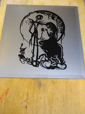 Nightmare before christmas etched mirror for Sale in Glendale, AZ