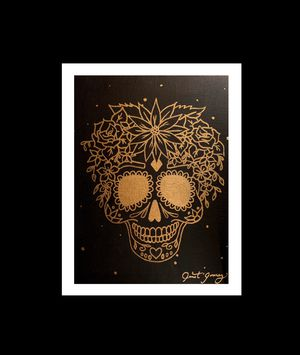 Golden Sugar Skull painting for Sale in Laguna Beach, CA