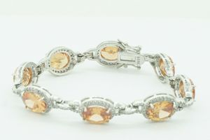 Women's Sterling Silver 925 Bracelet with Orange Stones 7.25 Inches #21674 for Sale in Lawrence, NY