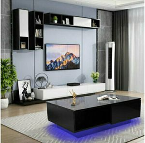 Modern High Gloss Black LED Light Coffee Table w/ Drawers Living Room Furniture for Sale in Fort Lauderdale, FL