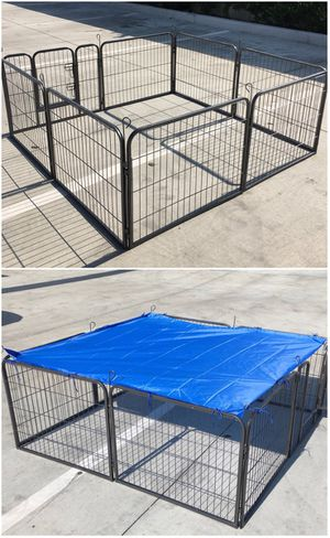 Brand new 24 inch tall x 32 inches wide each panel x 8 panels heavy duty exercise playpen with sun shade tarp cover fence safety gate dog cage crate for Sale in La Mirada, CA