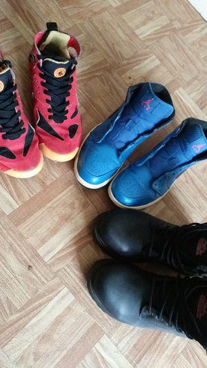 Red/black/yellow--**AirHuarache**=50$ Blue/Black/Orange --**Nike(Air Jordans)**=35$ **Brahma high top work boots**-20$ for Sale in Dallas, TX
