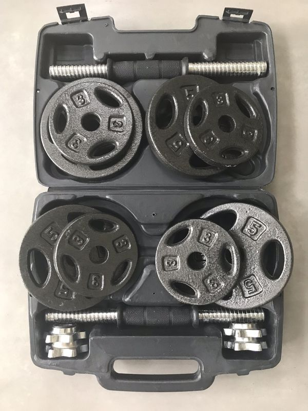 40lb cast iron dumbbell set in carry case
