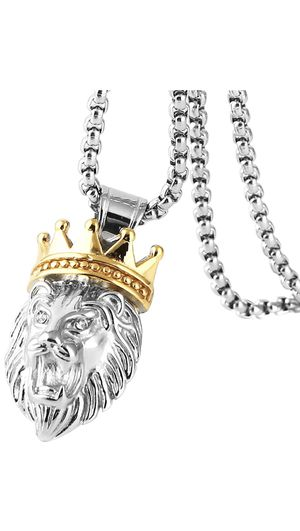 "Lion King Pendant Necklace Cable Wheat 22"" Chain Men's Silver Gold Tone Stainless Steel for Sale in Los Angeles, CA"
