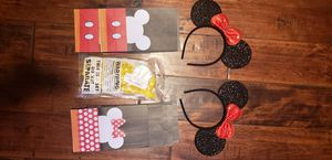 NEW (2) MINNIE MOUSE EARS.(6) MINNIE MOUSE GOODIE BAG.(6) MICKEY MOUSE GOODIE BAGS. (10) POLKA DOT YELLOW BALLOONS. for Sale in Whittier, CA