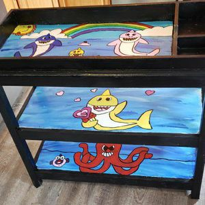 Handpainted Baby Shark Changing Table for Sale in Essex, MD