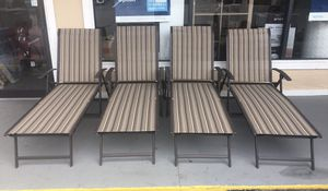 New Sling Folding Chaise Lounge Chair, Brown, Set of 4 for Sale in Columbia, SC