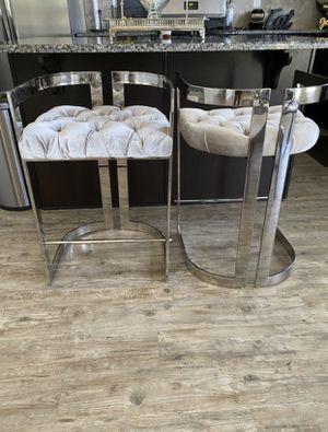 Xcella Furniture - 2 Majestic Grey Velvet Stools. Tufted Upholstered Seat Stainless Steel Frame for Sale in Atlanta, GA