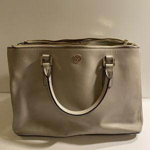 Tory Burch Robinson Double Zip-Pocket Dust Storm Tote Bag / Gray for Sale in Chandler, AZ