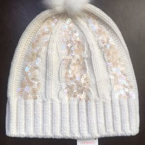(NEW) (1 LEFT) GIRL'S J.CREW SEQUIN CABLE-KNIT BEANIE WITH POM - SIZE: L-XL (MSRP: $45) for Sale in Compton, CA