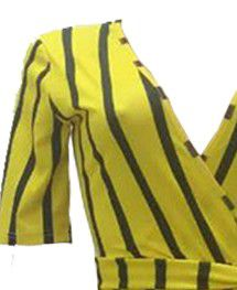 Lovely casual striped yellow twilled satin one piece romper for Sale in Belzoni, MS