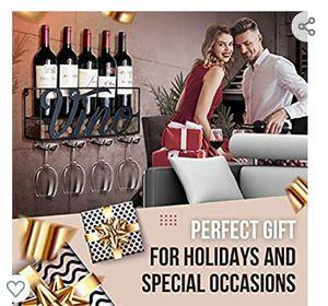 MKZ Products Wall Mounted Wine Rack | Wine Bottle Holder| Stemware Glass Holder | Cork Storage | Rack | Home & Kitchen Decor (VINO - Black) for Sale in Simpsonville, SC