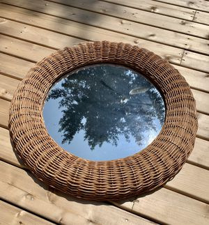 • wicker rattan framed round mirror boho wall hanging • for Sale in Issaquah, WA