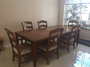 Dining Set - 6 Chairs - Table 66inch (90inch extended) for Sale in Weston, FL