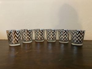 Votive silver modern chevron glass candle holders with battery flicker lights for Sale in Miami, FL