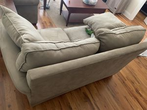 2 beige love couches with coffee table for less for Sale in Rahway, NJ