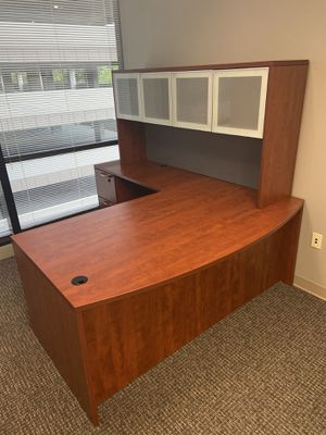 Office furniture. 3 years old and barely used. Willing to sell each unit or as a group. Two desks with side wardrobe units and one desk with no for Sale in Marietta, GA