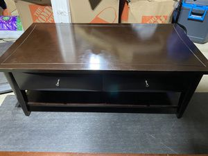 Dark Brown Coffee Table with Two Medium Sized Drawers for Sale in Modesto, CA