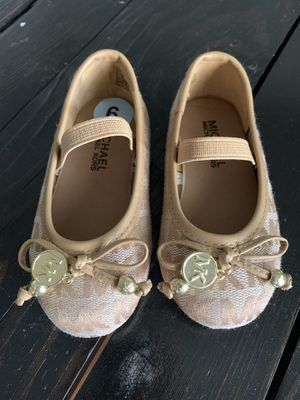 Beautiful New Michael Kors Slip on shoes tan gold toddler girl size 6 6c for Sale in Apopka, FL