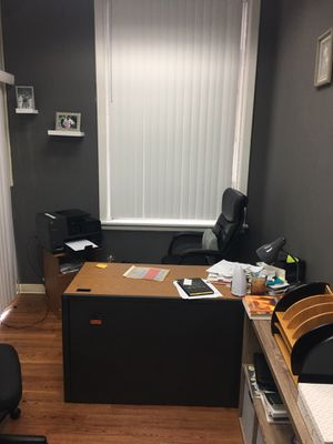Office furniture desk with 6 drawer leather chair printer and stand for Sale in La Vergne, TN